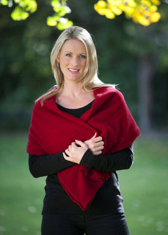 Image of Berry Red Women's Any-Way Possum Merino Wrap - NE557