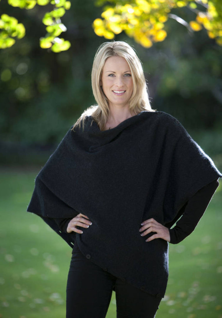 Black Women's Any-Way Possum Merino Wrap - NE557