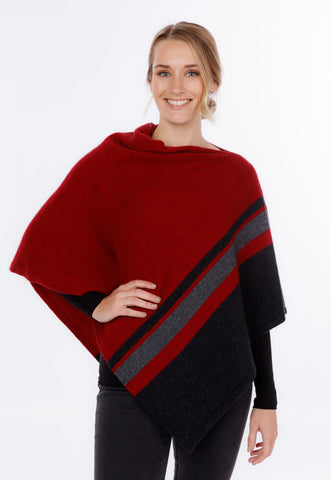 Berry red women's merino wool wrap