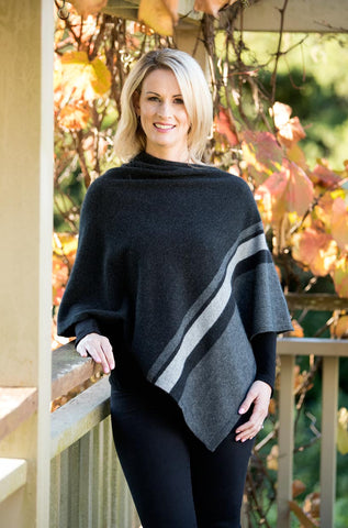 Image of Native World Charcoal Grey Women's 3 Tone Wrap Possum Merino - NE732
