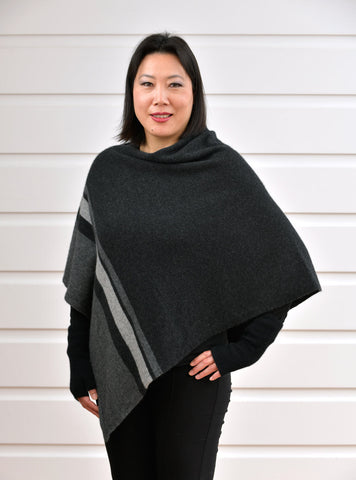 Native World Charcoal Grey Women's 3 Tone Wrap Possum Merino - NE732