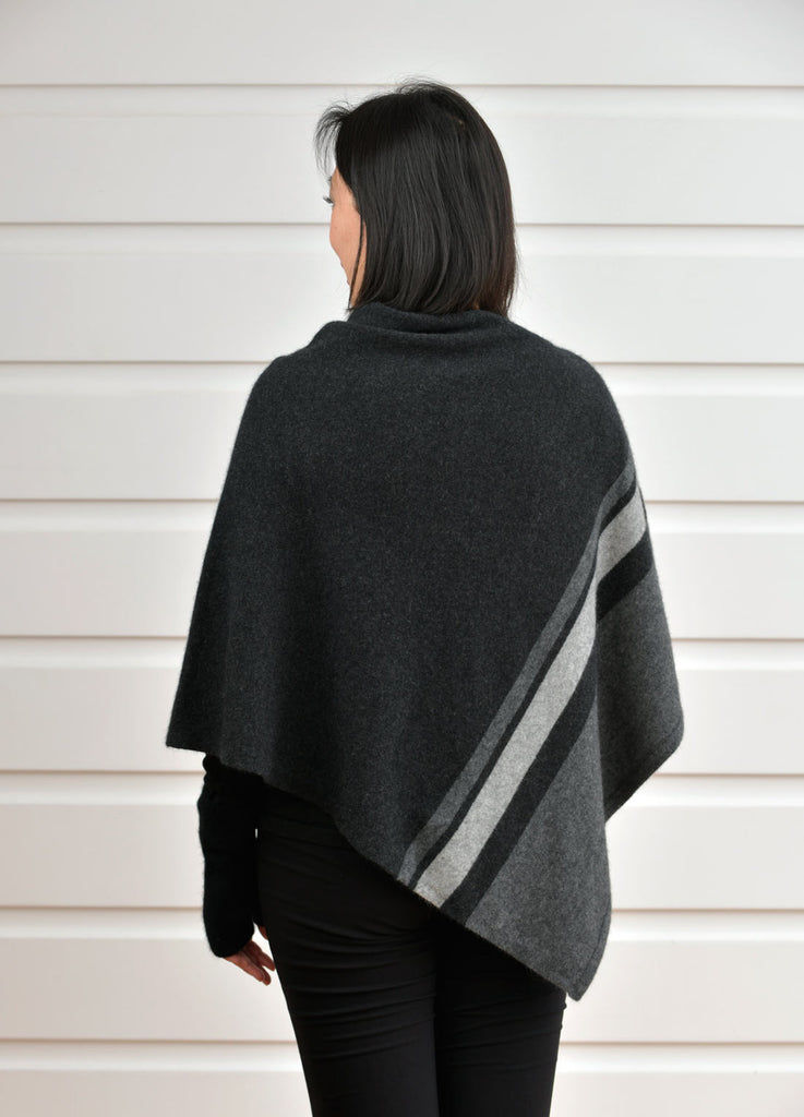 Charcoal Grey Women's 3 Tone Wrap Possum Merino - NE732