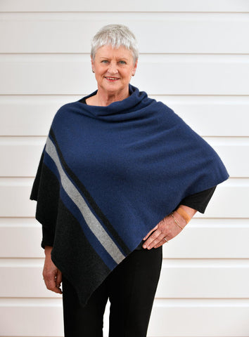Native World Riviera Blue Women's 3 Tone Wrap Possum Merino - NE732