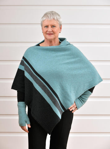 Native World Topaz Aqua Women's 3 Tone Wrap Possum Merino - NE732