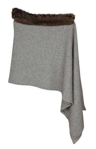 Image of Native World Silver Grey Women's Fur Trim Wrap Cape in Possum Merino - NE736