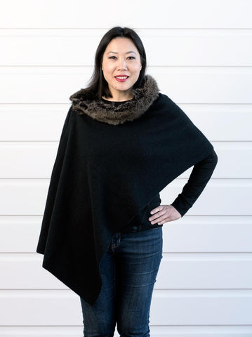 Image of Native World Black Women's Fur Trim Wrap Cape in Possum Merino - NE736