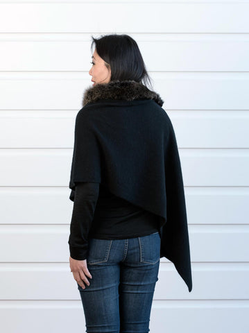 Native World Black Women's Fur Trim Wrap Cape in Possum Merino - NE736