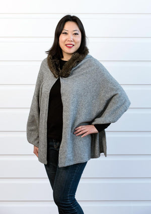 Silver Grey Women's Fur Trim Wrap Cape in Possum Merino - NE736