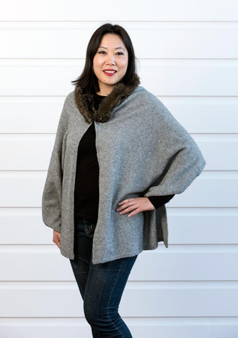 Native World Silver Grey Women's Fur Trim Wrap Cape in Possum Merino - NE736