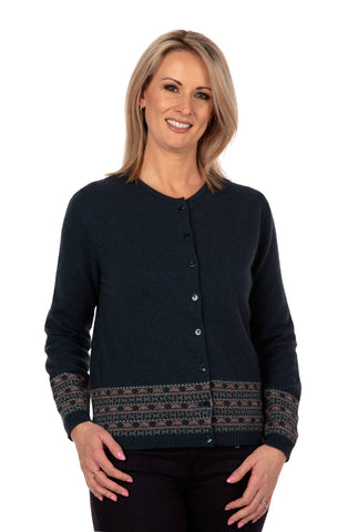 Image of Native World Ocean Women's Merino Fairisle Cardigan - NB749