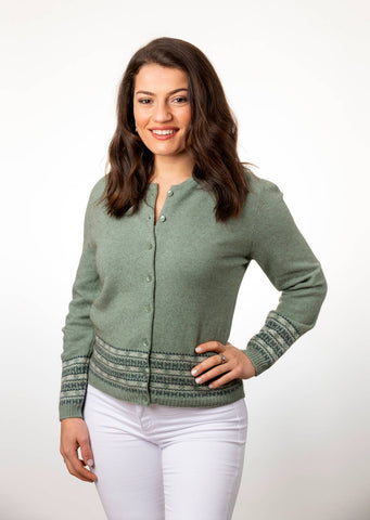 Seafoam Green Women's Merino Fairisle Cardigan - NB749