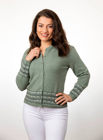 Image of Seafoam Green Women's Merino Fairisle Cardigan - NB749