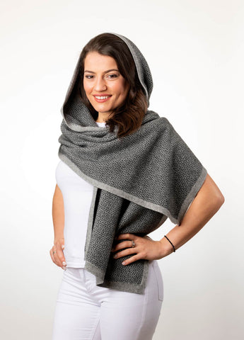 Image of Silver Women's Pebble Wrap Scarf in Possum Merino - NE802