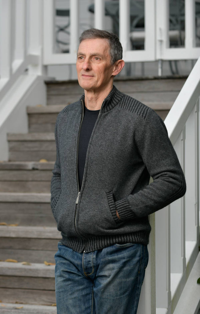 Native World Graphite Men's Jacket Rib Details in Possum Merino - NS234