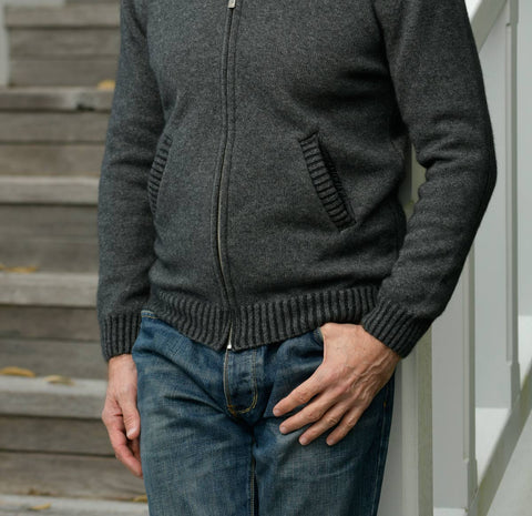 Image of Graphite Men's Jacket Rib Details in Possum Merino - NS234