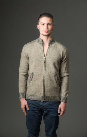Native World men's beige possum merino wool knit jacket