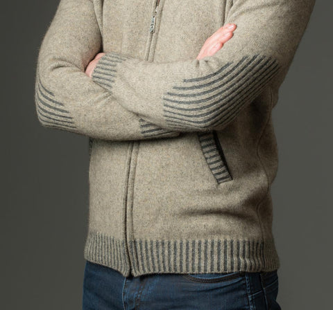 Image of Native World men's beige possum merino wool knit jacket