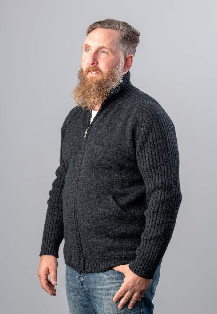 Native World Charcoal Men's Zip Front Two Tone Jacket in Possum Merino - NS331