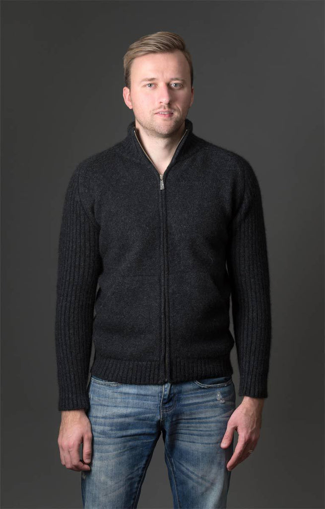 Charcoal Men's Zip Front Two Tone Jacket in Possum Merino - NS331