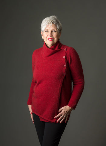 Image of Native World Berry Women's Asymmetric Possum Merino Jacket - NS664