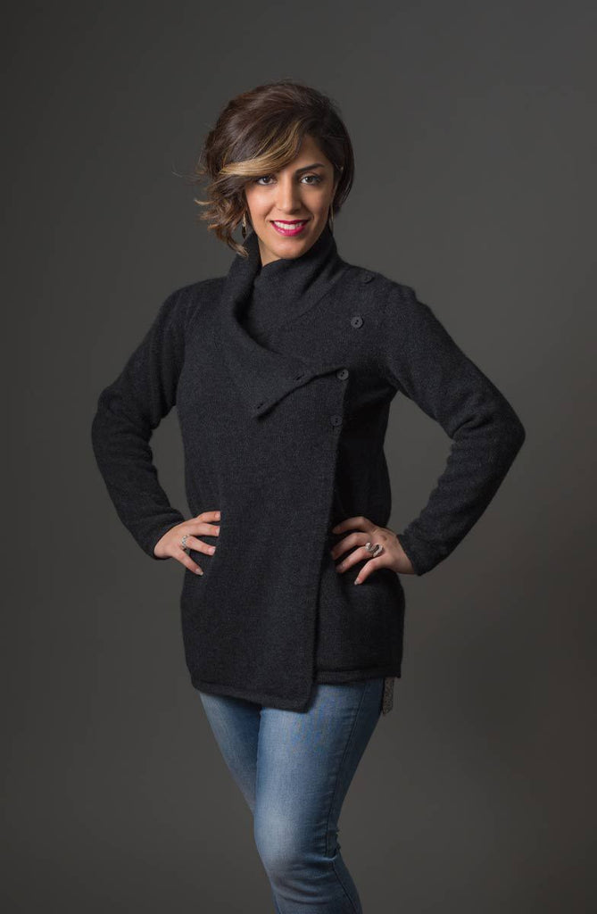 Charcoal Women's Asymmetric Possum Merino Jacket - NS664