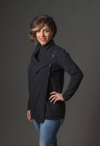 Native World Charcoal Women's Asymmetric Possum Merino Jacket - NS664