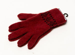Berry red Koru possum merino wool knit gloves