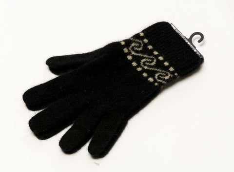 Black Koru Unisex Gloves Possum Merino Wool - NX002
