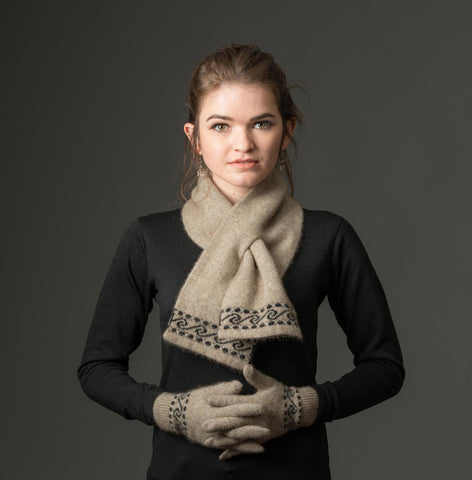 Image of Flax Beige Koru Unisex Gloves Possum Merino Wool - NX002