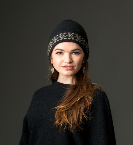 Image of Black Koru Beanie Hat in Possum Merino Wool Unisex - NX082