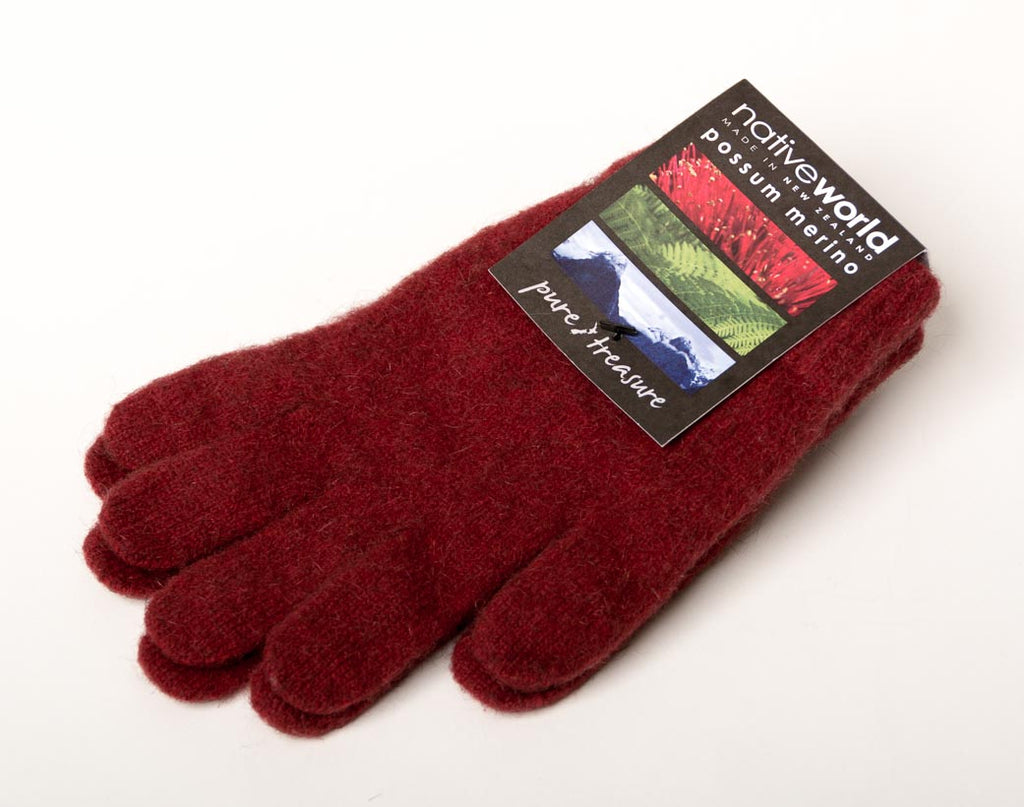 Berry #2 Plain Unisex Gloves Possum Merino Wool - NX100