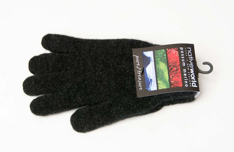 Charcoal Plain Unisex Gloves Possum Merino Wool - NX100