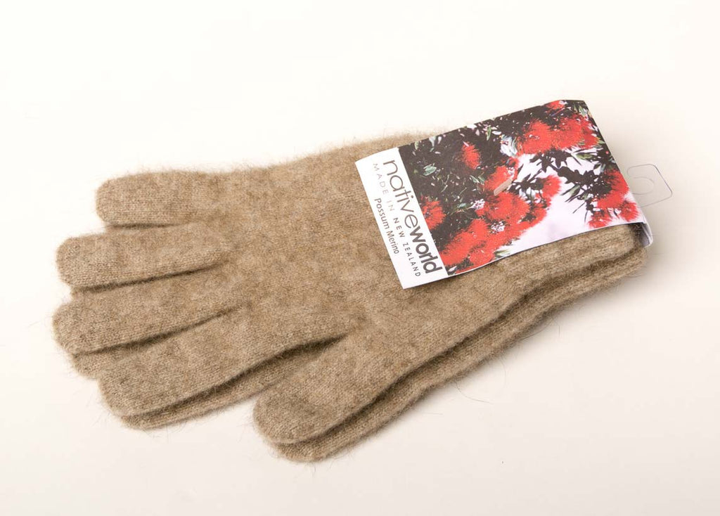 Flax Plain Unisex Gloves Possum Merino Wool - NX100