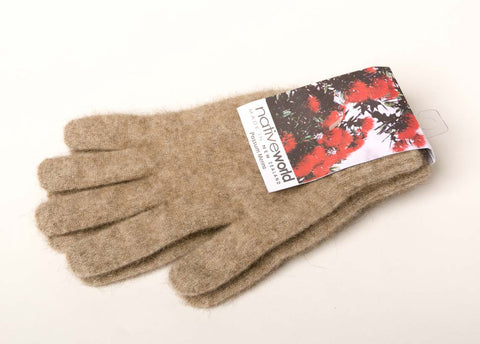 Image of Flax Plain Unisex Gloves Possum Merino Wool - NX100