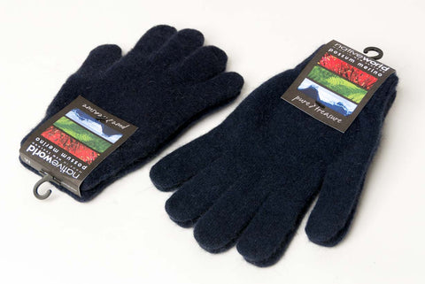 Image of Navy blue knitted wool gloves unisex