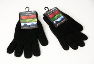 Native World Black Plain Unisex Gloves Possum Merino Wool - NX100