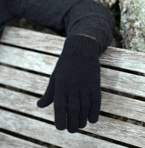 Black Plain Unisex Gloves Possum Merino Wool - NX100