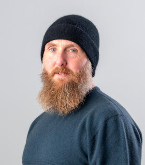 Black Plain Beanie Hat in Possum Merino Wool Unisex - NX101