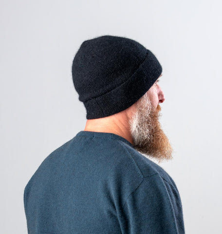 Unisex black possum merino wool beanie hat