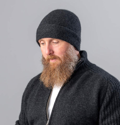 Image of Unisex Merino Wool Beanie Hat Charcoal