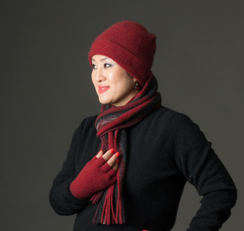 Berry Red Plain Beanie Hat in Possum Merino Wool Unisex - NX101