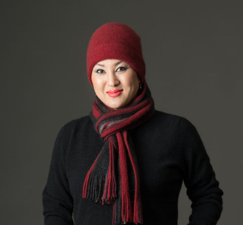Berry Red #2 Plain Beanie Hat in Possum Merino Wool Unisex - NX101