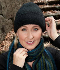 Charcoal Plain Beanie Hat in Possum Merino Wool Unisex - NX101
