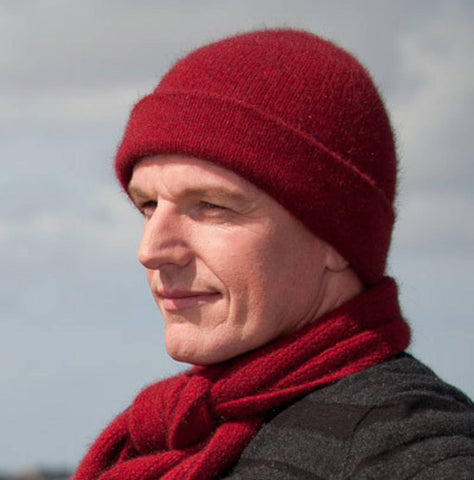 Image of Berry Red Plain Beanie Hat in Possum Merino Wool Unisex - NX101
