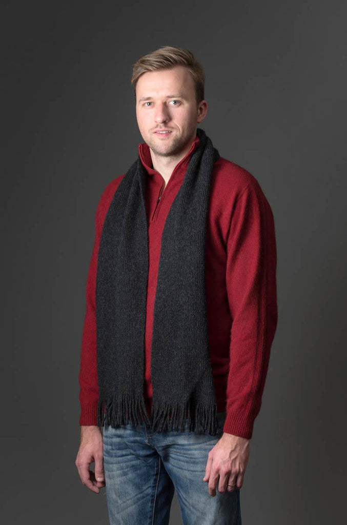 Native World Charcoal Plain Possum Merino Wool Scarf - NX102