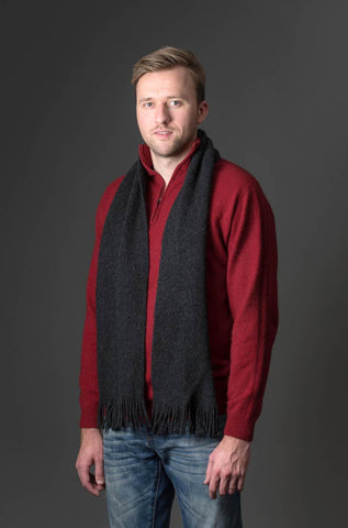 Image of Native World Charcoal Plain Possum Merino Wool Scarf - NX102