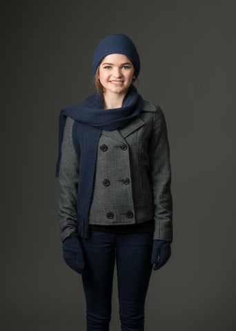 Navy blue possum and merino wool scarf