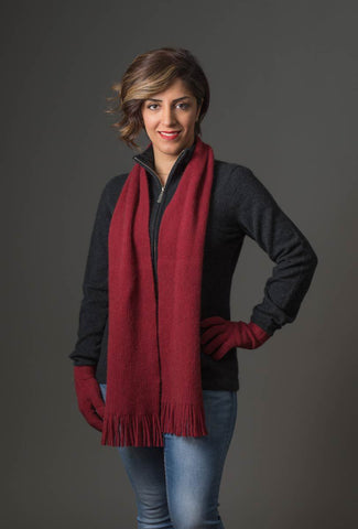Berry Red #2 Plain Possum Merino Wool Scarf - NX102