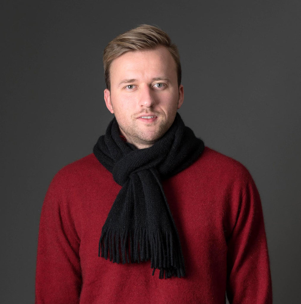Black Plain Possum Merino Wool Scarf - NX102