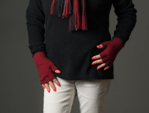 Image of Berry Red #2 Unisex Fingerless Gloves Possum Merino Wool - NX103